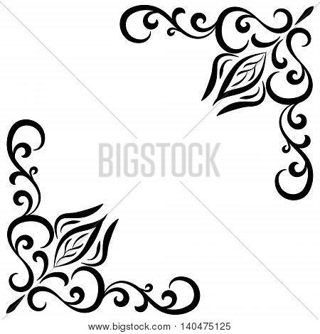 Doodle abstract black handdrawn flower corner frame