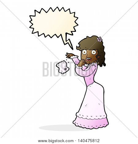 cartoon victorian woman dropping handkerchief with speech bubble