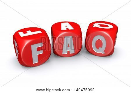 3D illustration of Red frequently asked questions dices on white background
