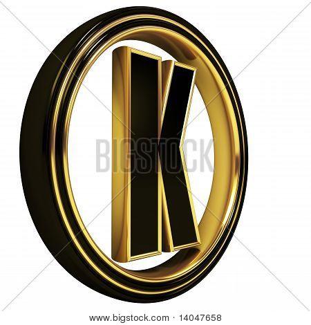 Gold Black Font Letter k