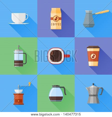 Set of coffee flat style icons with long shadow. French press, coffee cup, pot, grinder and packaging, coffee makers. Vector illustration.