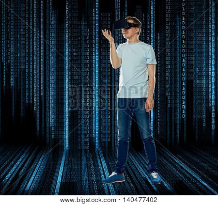 3d technology, virtual reality, entertainment, cyberspace and people concept - man with virtual reality headset or 3d glasses playing game and holding something over black background with binary code