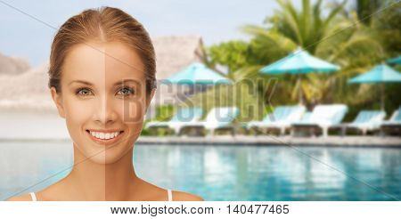 people, suntan, travel and summer holidays concept - close up of beautiful smiling woman with half face tanned