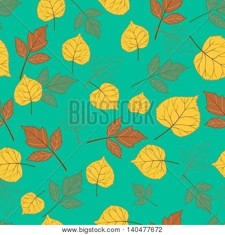 Autumn leaves on a background of emerald green Vector illustration.Design for web pages, cloth, textile, wrapping paper, scrapbooking, Wallpapers.
