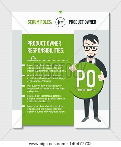 Scrum roles - Product owner responsibilities template in scrum development process on light grey background