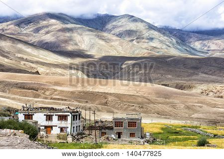 Mountain landscape near Rumste village in Ladakh region, India. Ladakh is the highest altitude plateau region in India, incorporating parts of the Himalayan and Karakoram mountain ranges.