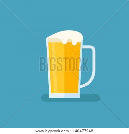 Glass of light beer isolated on blue background. Pint vector illustration. Flat style icon.