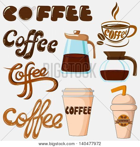 Coffee Icon collection with jug, glass and cup. Vector illustration