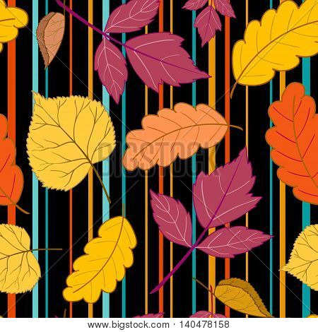 Beautiful cheerful autumn seamless pattern with colorful leaves on a black background with multicolored stripes.Vector illustration.Design for web pages, cloth, textile, wrapping paper, scrapbooking