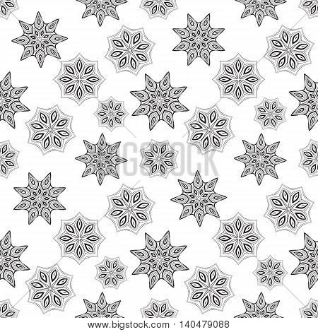 Vector seamless pattern. Template for any surface. Elegant backdrop with oriental black and white ornaments of mandalas