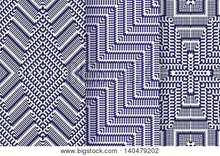 Set of 3 Abstract patterns. Seamless blue geometric illustration, cloth vector backgrounds, fabric textile pattern