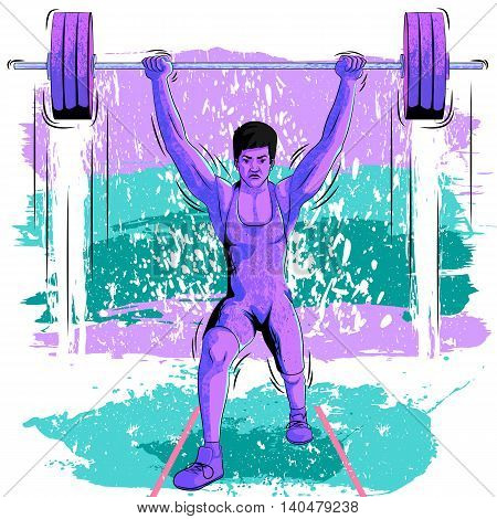 Concept of sportsman doing weight lifting. Vector illustration