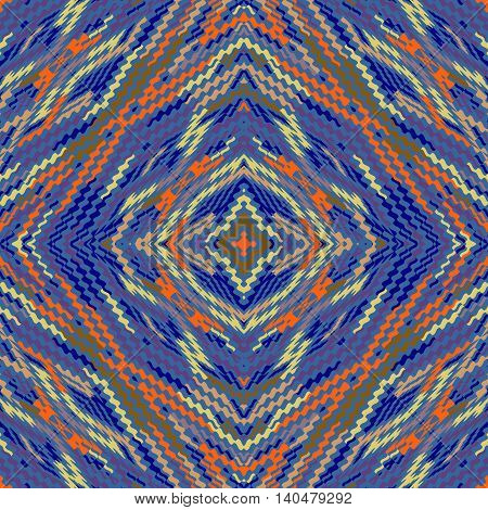 Vector seamless pattern, abstract geometric blue background illustration, fabric textile pattern