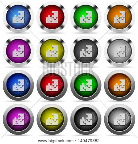Set of puzzle glossy web buttons. Arranged layer structure.
