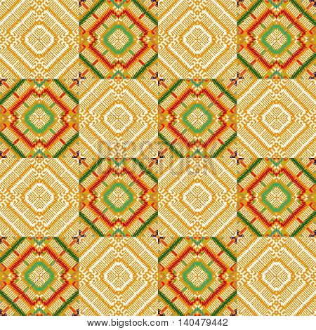 Vector seamless, abstract geometric background illustration, yellow fabric textile pattern