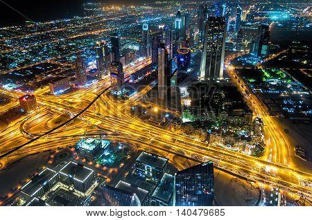 Dubai, UAE - January 06, 2012: Sheikh Zayed Road night view from Burj Kalifa