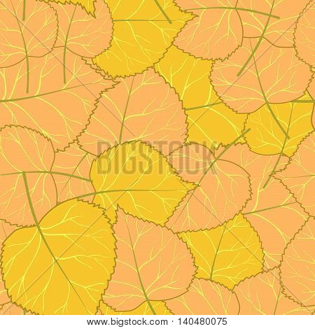 Seamless pattern with autumn yellow leaves.Vector illustration