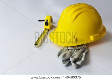 close up of protective helmet on white background