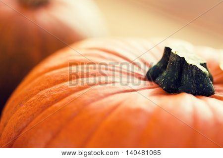 food, harvest, season and autumn concept - close up of pumpkins