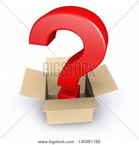3D illustration of Question mark standing in open cardboard on white background