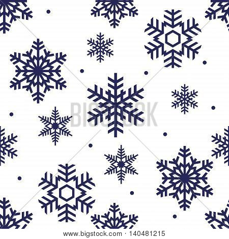 seamless winter pattern of blue openwork snowflakes on a white background
