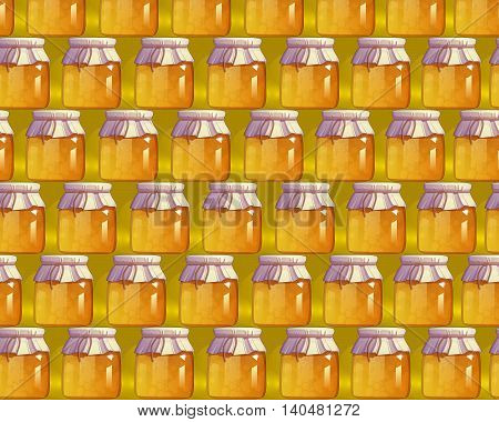 Seamless pattern with honey. Natural food. 100% ecological product. Vector illustration for your project.