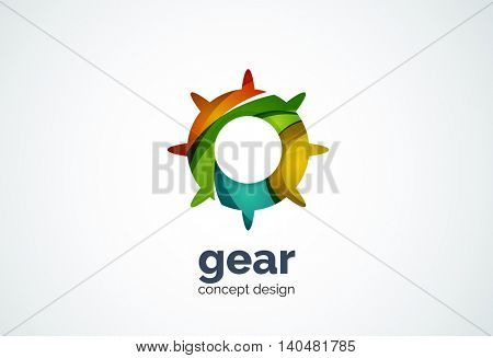Gear logo template, hi-tech digital technology working and engineering concept - geometric minimal style, created with overlapping curve elements and waves. Corporate identity emblem, abstract