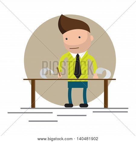 man standing and working at the table. Brainstorming, startup. Flat vector illustration.