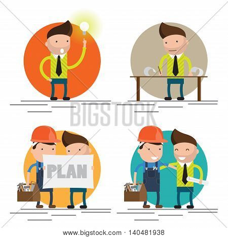 Cool flat design vector characters on building worker with hard hat helmet, and tool box and civil engineer specialist holding plan set