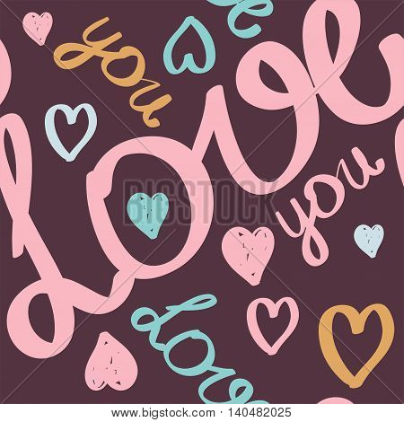 vector seamless pattern for Valentine's day or wedding. Handwritten text hand brush lettering.