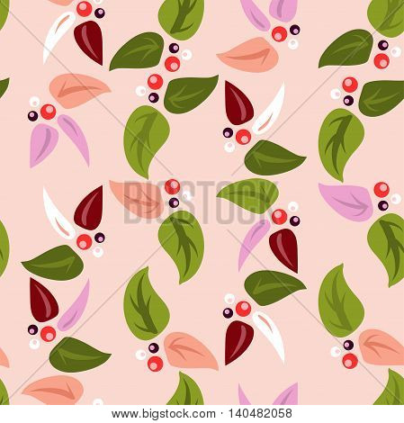 Vector seamless background with colorful leaves and berries