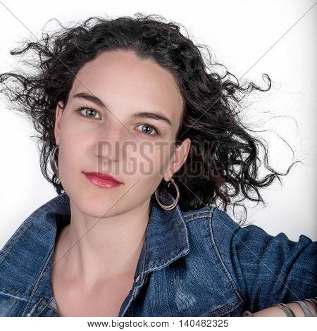 Young Woman With Jean Jacket.