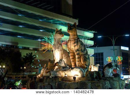 Cats Monument At Center Of Kuching At Night