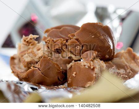 picture of a chocolate bonbon macro shot