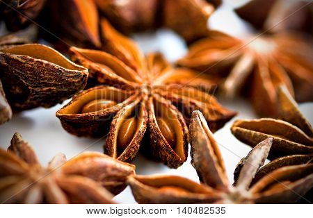 Star anise spice close up extreme focus