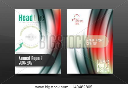 A4 size annual report business flyer cover, wave pattern presentation design. Leaflet or magazine layout