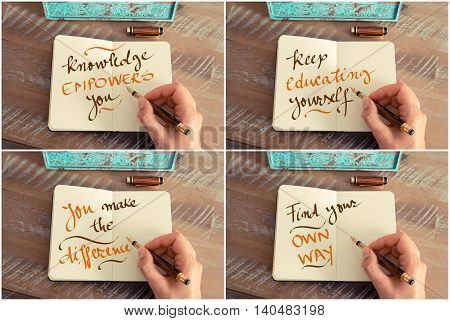 Photo Collage Of Handwritten Motivational Messages