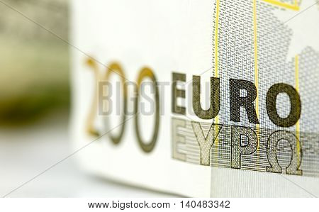 picture of a 200 euro money macro shot