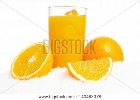 Orange Juice,ice Cubes And Fruit On Ice On White