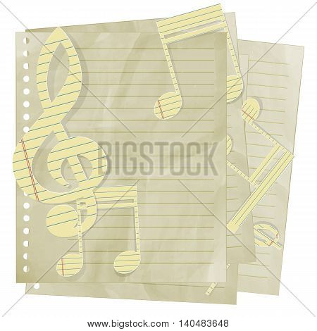Paper treble clef on sheet in line. Isolated object on a white background can be ispollzovat with any image or text.