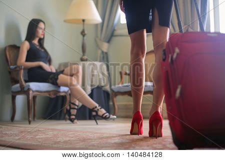 Beautiful women travelling
