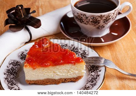 Cheesecake With Goiabada Jam, Cup Of Coffee