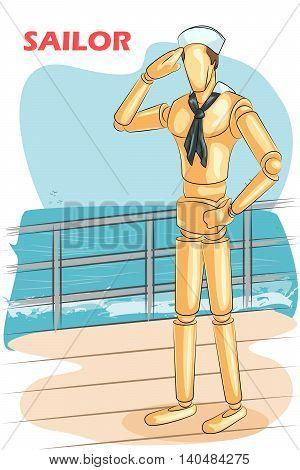 Wooden human mannequin Sailor saluting. Vector illustration