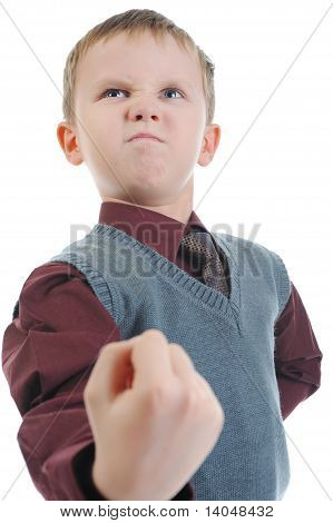 little bully threatens fist