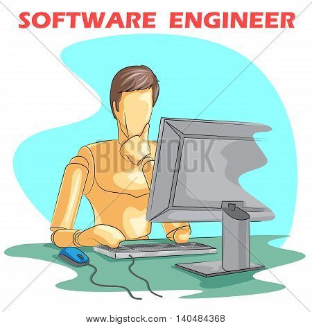 Wooden human mannequin Software Engineer working on computer. Vector illustration