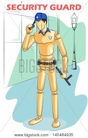 Wooden human mannequin Security Guard on phone. Vector illustration