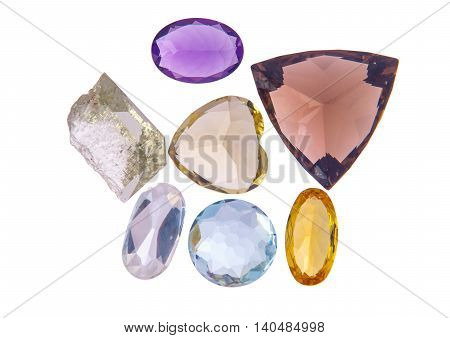 Beautiful glowing gems on a white background
