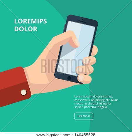 vector illustration of hand with smartphone. finger on the screen. Picture with place for your personal design. Isolate on dark background.