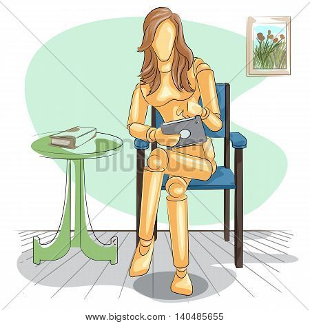 Wooden human mannequin Lady reading on tablet. Vector illustration
