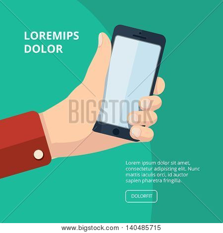 vector illustration of hand with smartphone. Picture with place for your personal design on the screen.